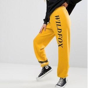 Wildfox WF Baggy Sport Logo Jogger Pant Yellow (M)